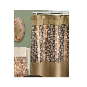Mosaic Stone Bronze Shower Curtain Material 72x70